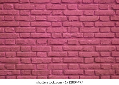 Front View of Magenta Colored Old Brick Wall for Background or Banner