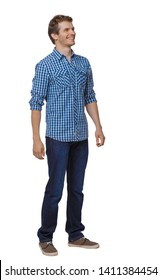 Front view of man in jeans. Standing young guy. Rear view people collection.  backside view of person.  Isolated over white background. Happy guy in a shirt is looking sideways.
