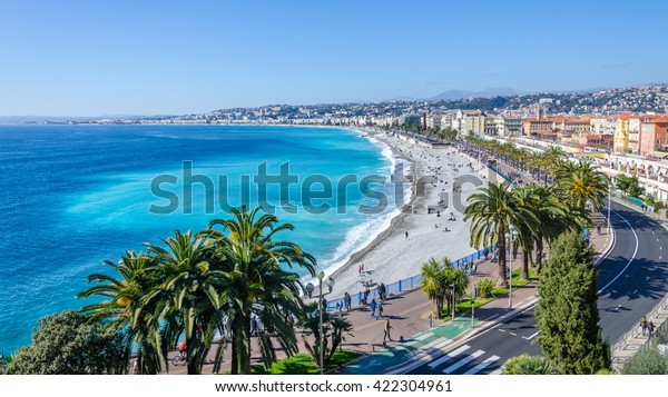 Front View the Mediterranean sea, Bay of Angels, Nice, Frankreich