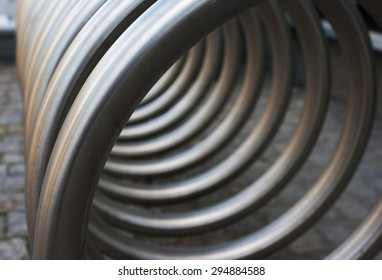 front view of metal spiral as an abstract background outside
