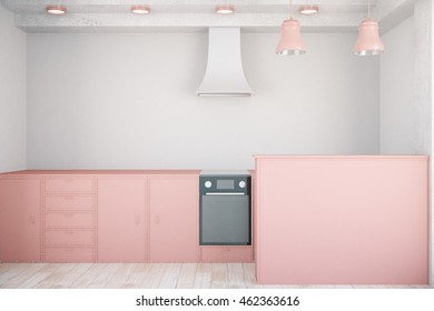 Front view of minimalistic pink kitchen interior. 3D Rendering