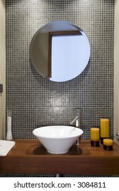 front view of a modern bathroom