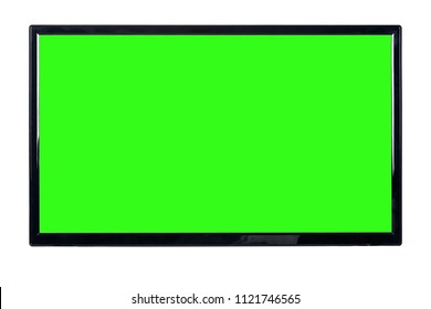 Front view of modern high definition flat TV LCD monitor with blank green chromakey screen, isolated on abstract blurred white background. Detailed closeup studio shot