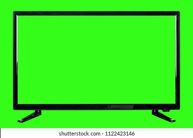 Front view of modern high definition flat TV LCD monitor with blank green chromakey screen, isolated on abstract blurred chrome key background. Detailed closeup studio shot
