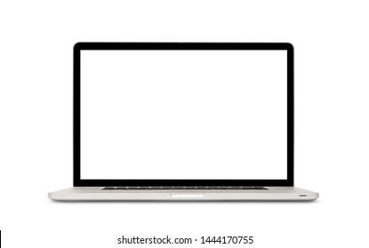 Front view of modern laptop with blank screen, aluminum body material, isolated on white background. Clipping path