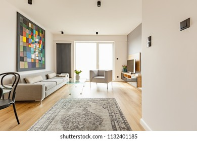 Front view of a modern living room interior with a vintage rug, grey couch and armchair, glass coffee table, window and colorful graphic