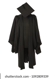 Front view of Mortar Board Cap and Cape on stand against a white background.