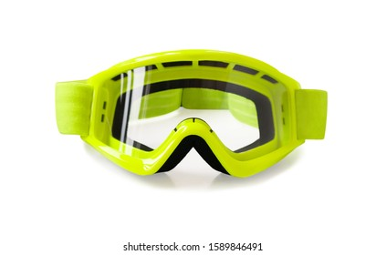 Front view of motocross goggle for motorcycle or mountain bike riding. Eyewear equipment isolated on white background