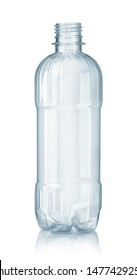 Front view of new empty plastic clear water bottle isolated on white