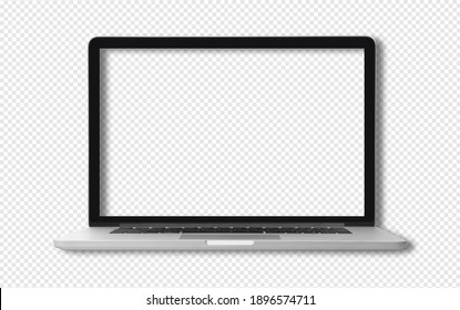 Front view of New generation laptop with blank screen. isolated with clipping path on transparent background