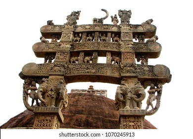 Front view of north gateway of Stupa-1 at Sanchi, near Bhopal, Madhya Pradesh, India, Asia