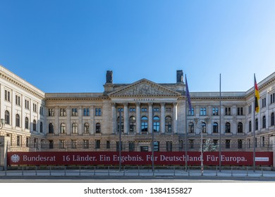 Front view of the office building of the German Bundesrat (Federal Council) in Berlin, Germany, with a banner says: 16 Federal States, one result, for Germany, for Europe