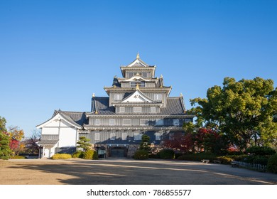 Front view of Okayama Castle on morning in autumn season