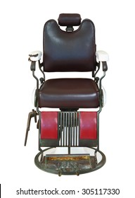 Front view of old barber chair isolated on white background, clipping path.