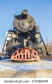 Front view of a old locomotive