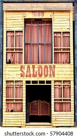 A front view of an old saloon.
