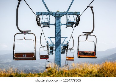 Front view of old ski elevator in summer close up.