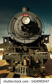 Front View of an Old Steam Locomotive