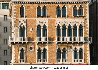 front view of old traditional building in Venice, Italy