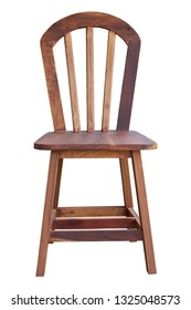 front view of old wooden chair isolated on white with clipping path