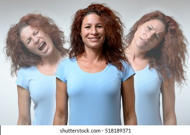Front view on three versions of woman changing from moods of anger, joy and confusion