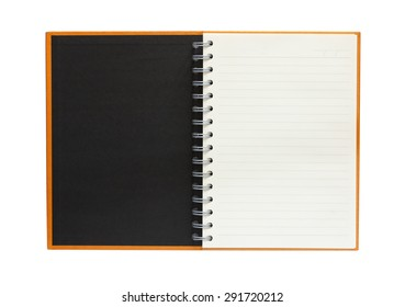 front view of open book on white background