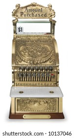 Front view of an ornate victorian cash register