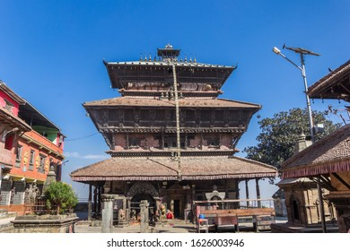 Front view of the pagoda of the Bagh Bhairab temple in Kirtipur, Nepal