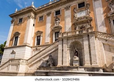 Front view of the Palazzo Senatorio and Fontana della Dea Roma in the Piazza del Campidoglio on top of the Capitoline Hill in Rome, Italy.