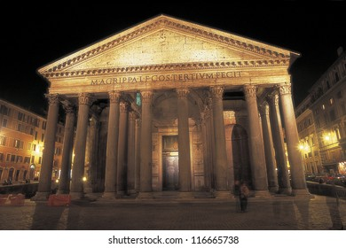 Front view of the Pantheon in Rome, Italy