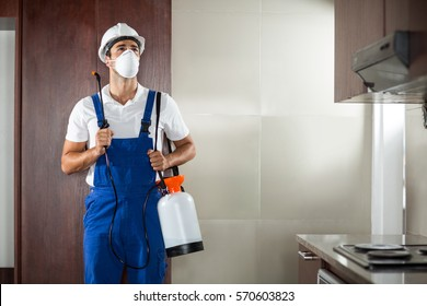 Front view of pest worker spraying standing in kitchen at home