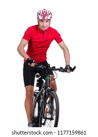 Front view picture of a cycling man isolated on white