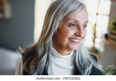 Front view portrait of happy senior woman standing indoors at home.