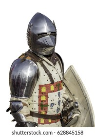 Front view of portuguese medieval knight isolated