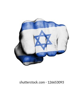 Front view of punching fist, banner of Israel