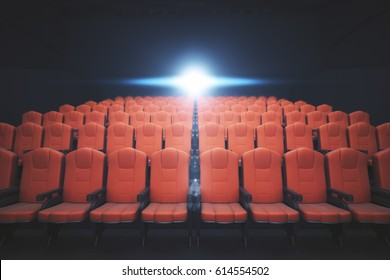 Front view of red cinema chairs on dark background with projector. Movie concept. 3D Rendering