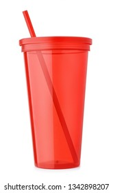 Front view of red reusable plastic cup with  lid and straw isolated on white