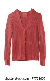 front view of red sweater isolated on white