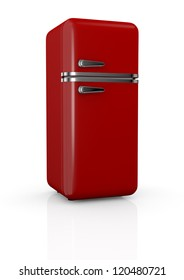 front view of a red vintage fridge (3d render)