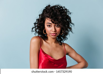 Front view of refined girl with black curly hair. Studio shot of beautiful mixed race woman isolated on blue background.