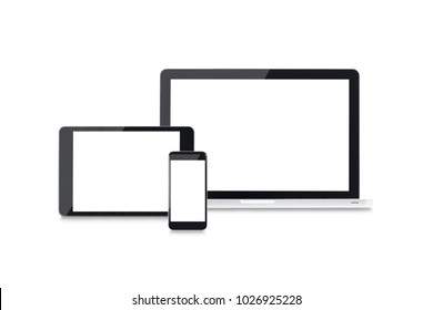 front view responsive web design mockup with laptop, mobile and tablet
