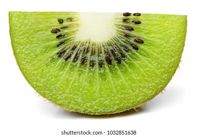 Front view of ripe slice of kiwi fruit isolated on white background