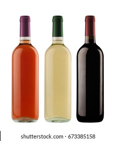front view of rose white and red wine bottles with assorted colored caps isolated on white background