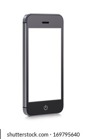 Front view of a rotated at a slight angle black modern mobile smart phone with blank screen isolated on white background. High quality.