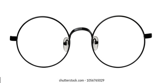 Front view of round eyeglasses frame isolated on white