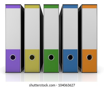front view of a row of office folders in different colors (3d render)