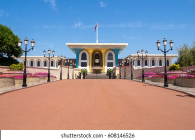 Front view of the Royal Palace of Sultan Bin Al Qaboos in Muscat, Muttrah, Oman