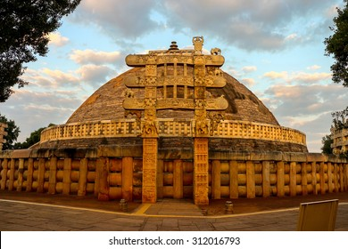 Front View of Sanchi Stupa, located at Sanchi Town, Madhya Pradesh, India