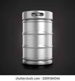 Front view shiny metallic beer keg isolated on matte background.