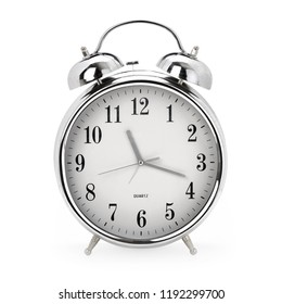 Front view of a shiny vintage analog alarm clock on white background, contains clipping path
